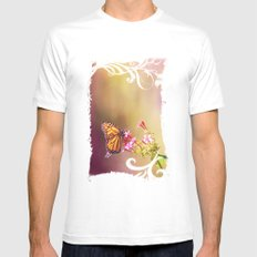 Monarch Rainbows MEDIUM White Mens Fitted Tee