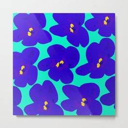 Large Blue Retro Flowers Turquoise Background #decor #society6 #buyart Metal Print