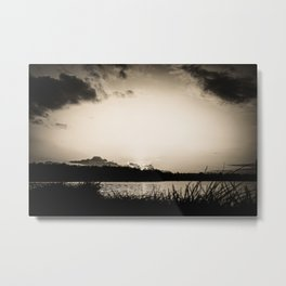Sundown At Lake Heve 4 sepia Metal Print