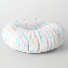 Wild and Free Watercolor Feathers Pattern II Floor Pillow