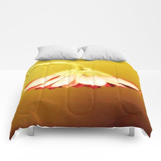 Glowing Yellow Drooping Flower Comforters