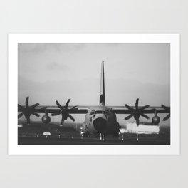 C-130 nose on. Noir style. Art Print