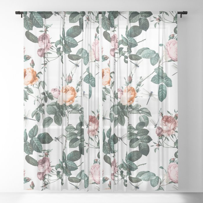 Floral and Winged Darter Sheer Curtain