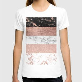 Modern chic color block rose gold marble stripes pattern T-shirt