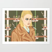 tenenbaum Art Prints featuring Margot Tenenbaum  by Maritza Lugo