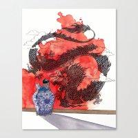 tintin Canvas Prints featuring Tintin, Le Lotus Bleu by Renee Nault