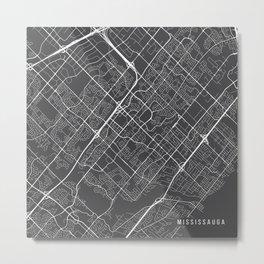 Mississauga Map, Canada - Gray Metal Print