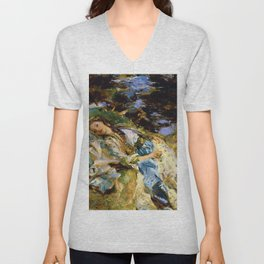 1907 Classical Masterpiece 'The Brook' by John Singer Sargent Unisex V-Neck