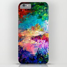 WELCOME TO UTOPIA Bold Rainbow Multicolor Abstract Painting Forest Nature Whimsical Fantasy Fine Art Slim Case iPhone 6s Plus