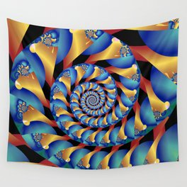 Archimedes' Blue & Gold Tangent Wall Tapestry