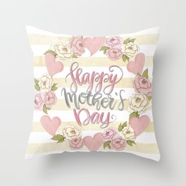 Happy Mothers Day Wreath Throw Pillow
