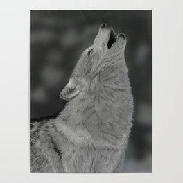 Lone Wolf Animal Digital Painting Poster