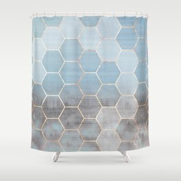 honeycomb winter forest // copper & blue Shower Curtain