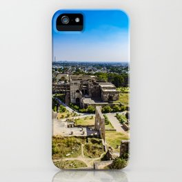 Looking Down at the Entry Courtyard of Golconda Fort and into the City of Hyderabad, India iPhone Case
