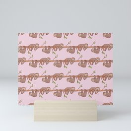 Lazy Baby Sloth Pattern in Pink Mini Art Print