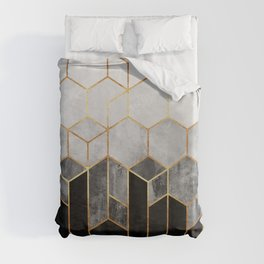 Charcoal Hexagons Duvet Cover