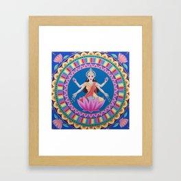 Goddess Lakshmi Lotus Mandala Framed Art Print