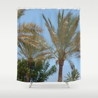 palm trees Shower Curtains featuring Palm Trees by MehrFarbeimLeben