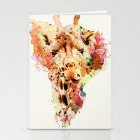 giraffe Stationery Cards featuring giraffe by RIZA PEKER