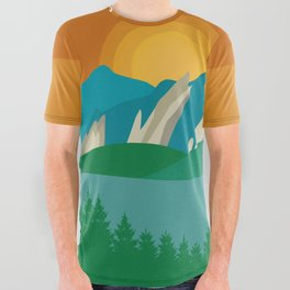 Boulder, Colorado - Skyline Illustration by Loose Petals All Over Graphic Tee