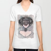 new orleans V-neck T-shirts featuring New Orleans Mask by carlations: Carla Wyzgala illustrations