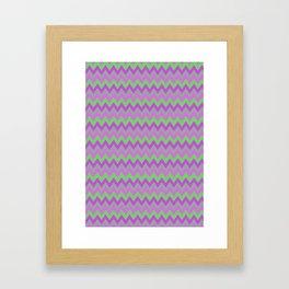 pink purple and green chevron Framed Art Print