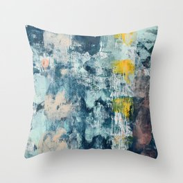 017.2: a bright contemporary abstract design in blues pinks and yellow by Alyssa Hamilton Art  Throw Pillow