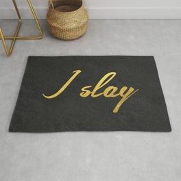 I slay ( gold typography) Rug
