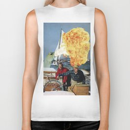 Old Man and The Sea Monster - Vintage Collage Biker Tank