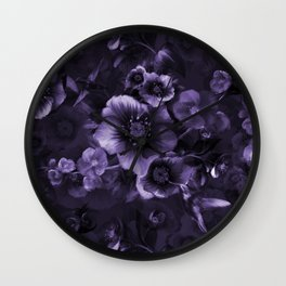Moody florals purple by Odette Lager Wall Clock