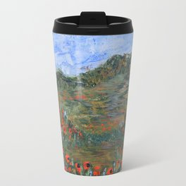 Realm of Poppies, abstract landscape painting, red poppies Travel Mug