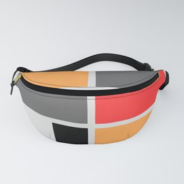 Mondrianista orange red black and gray Fanny Pack