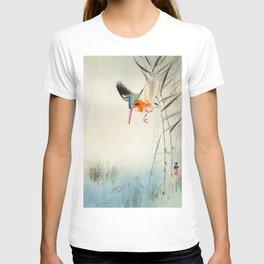 Kingfisher diving for fish - Vintage Japanese Woodblock Print  T-shirt