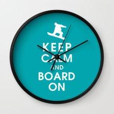 Keep Calm and Board On Wall Clock