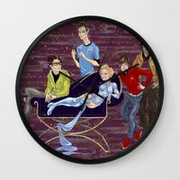 big bang Wall Clocks featuring BIG BANG by Alex Bayliss