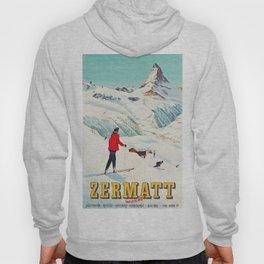 Zermatt, Switzerland Vintage Ski Travel Poster Hoody