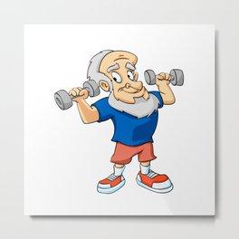 Old man doing exercise Metal Print