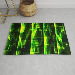 Luxurious green stripes and metallic triangles of blades of grass create abstraction and glow. Rug