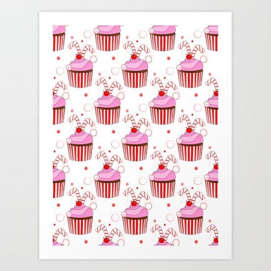 Christmas Cupcakes Art Print