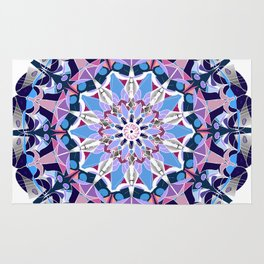 blue grey white pink purple mandala Rug