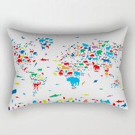 world map animals collage 2 Rectangular Pillow
