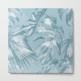 Island Dream Teal Palm Leaves Metal Print