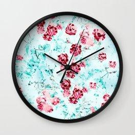 Floral Dream, Surrealism Nature Botanical Graphic Design, Digital Art Rose Wall Clock