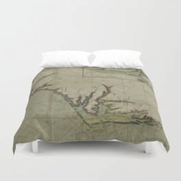 Vintage Map of The Carolinas (1702) Duvet Cover