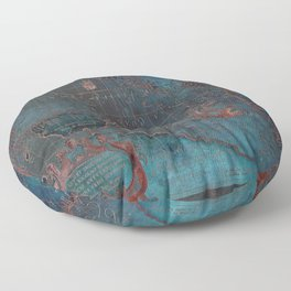 Antique Map Teal Blue and Copper Floor Pillow