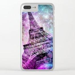 Pop Art Eiffel Tower Clear iPhone Case