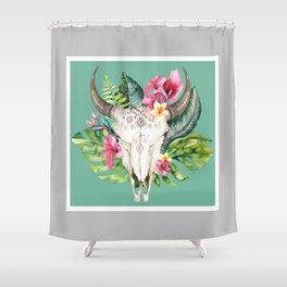 Boho Floral Skull Grey & Teal Shower Curtain