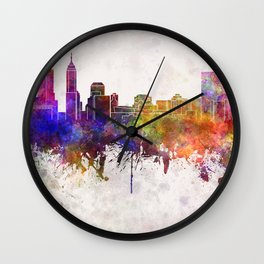 Indianapolis skyline in watercolor background Wall Clock
