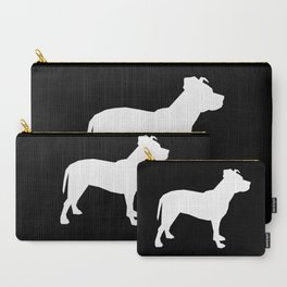 Pitbull silhouette black and white minimal modern dog breed art pillow square Carry-All Pouch