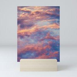 Pink Blue Sky Clouds Mini Art Print